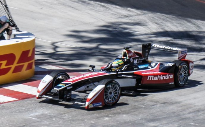 Electric cars race to the finish in the Formula E at Long Beach