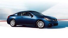 2013 Nissan Altima Coupe side profile in Navy Blue