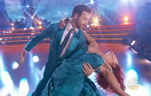 Race car driver James Hinchcliffe and Sharna Burgess on